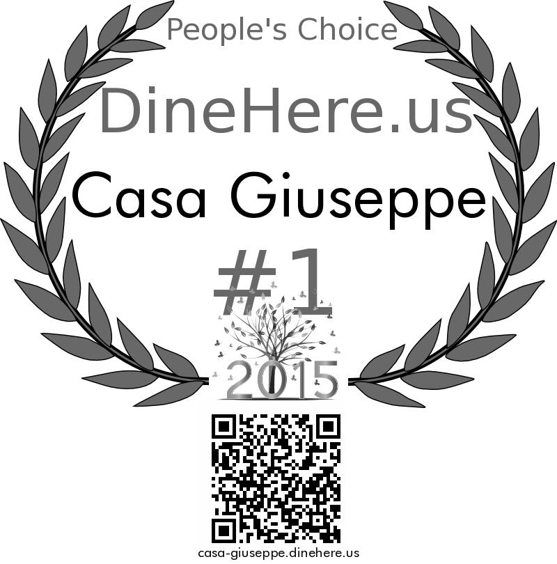 Casa Giuseppe DineHere.us 2015 Award Winner